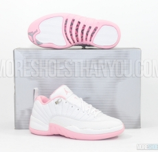 Air Jordan 12 Retro Low (White/Real Pink-Met Silver) 1