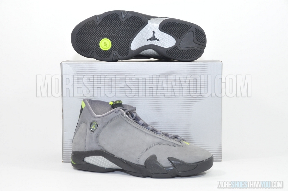 67afc2394fe AIR JORDAN 14 RETROLT GRAPHITE/CHARTREUSE-BLACK - More Shoes Than You