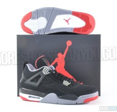 Air Jordan 4 Retro (Black-Cement Grey-Fire Red) 1